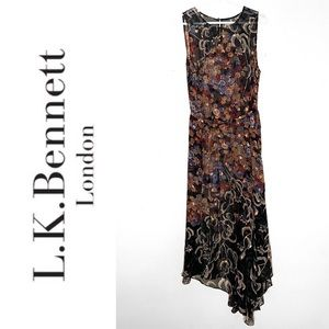 LK Bennett silk floral sleeveless maxi dress